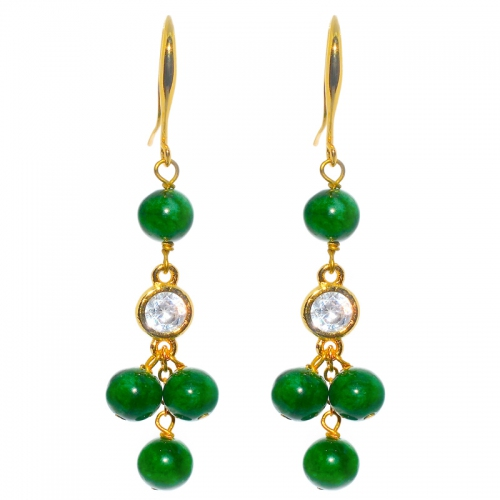 Green Quartz Clustered Earring