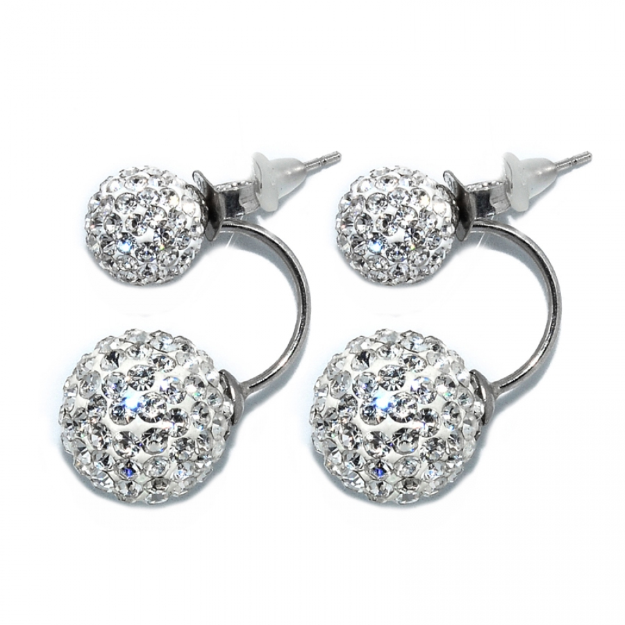 Russian Zirconia Double Droop 925 Silver Earring-White