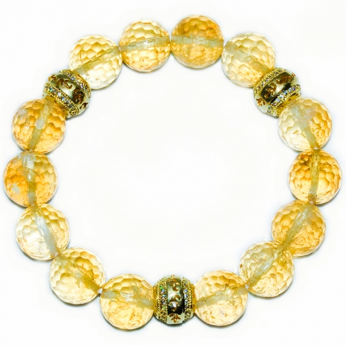 Citrine 12MM Facets Carving Ball Bracelet