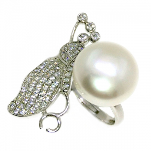 Fresh Water Pearl Butterfly Cubic Zirconia 925 Silver Ring