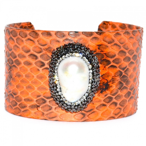 Fresh Water Pearl Baroque Cuff Bangle - Orange