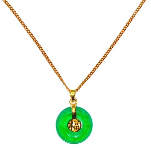 Green Quartz Pendant With Chain - Prosperity Round