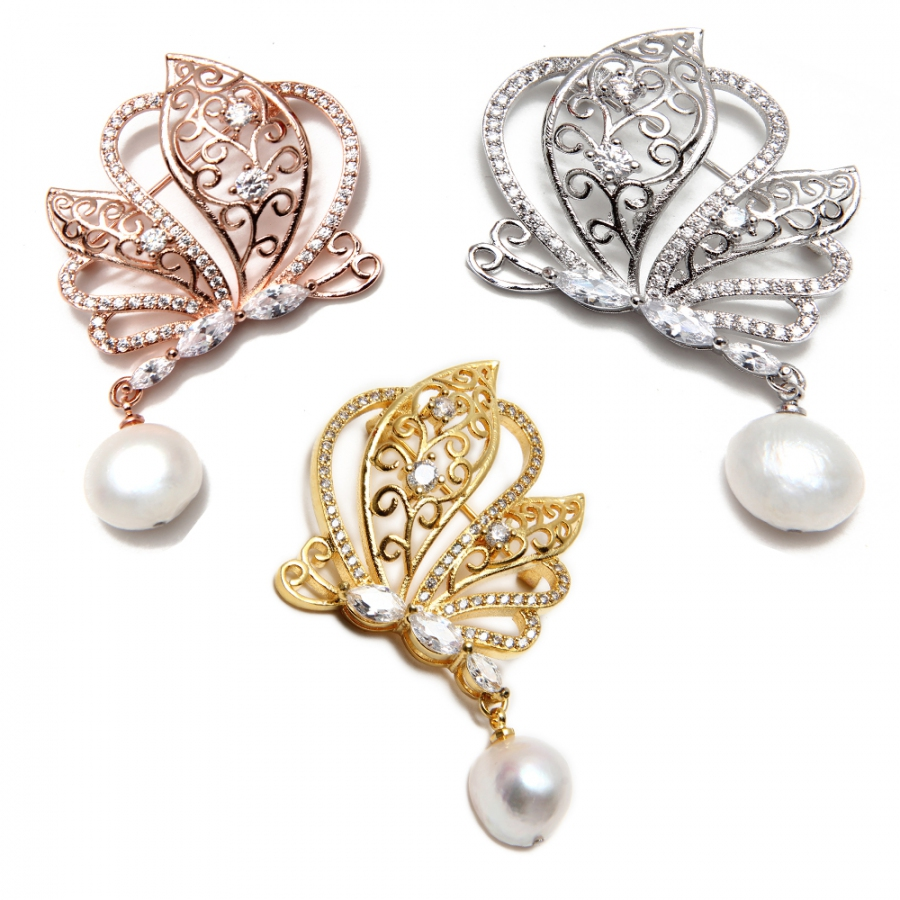 Fresh Water Pearl Butterfly Brooch