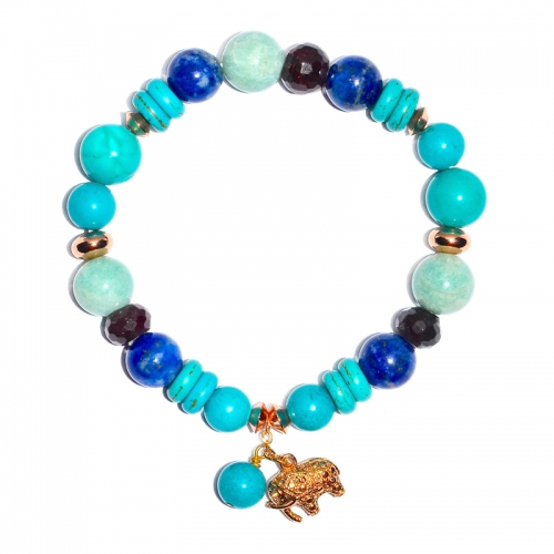 Mix Gemstone With Elephant Charm Bracelet
