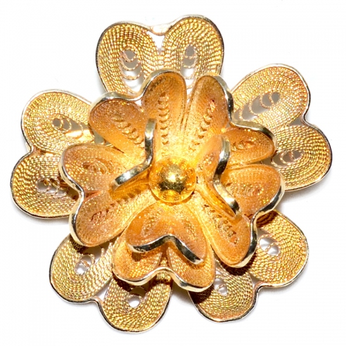 Midmesh Flower 3 Layer 925 Silver Yellow Gold Plating Brooch