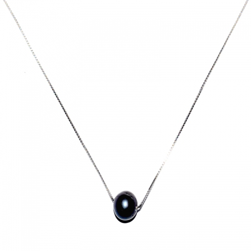 Fresh Water Pearl Single In 925 Silver Chain - Black