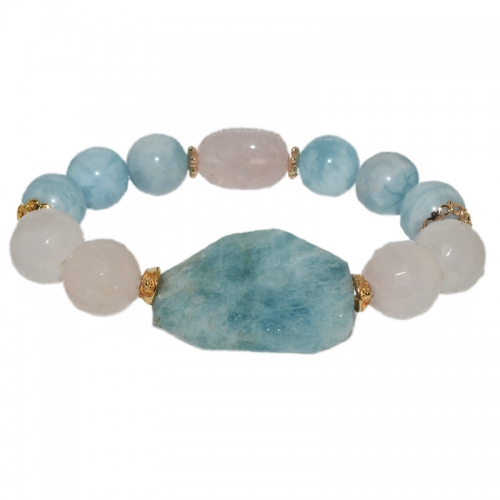 Aquamarine & Rose Quartz Mix Bracelet