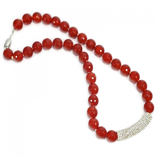 Red Agate Crystal Bar Necklace