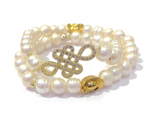 Mystic Knot Purity Fresh Water Pearl Ingot Bracelet