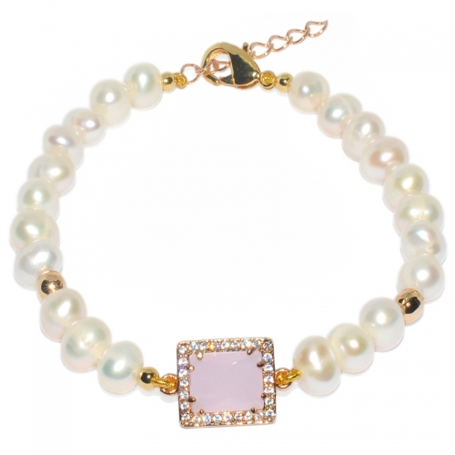 Fresh Water Pearl Simple Pink Zircon Bracelet