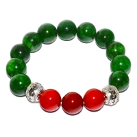 Green Quartz Mix Red Shell Pearl Elastic Bracelet