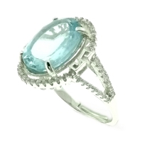 Blue Topaz Oval Facets Oriental 925 Silver Ring