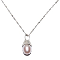 Fresh Water Pearl Cubic Zirconia Cap 925 Silver Pendant With Chain