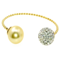 Mystic Twist Russian Zirconia & Shell Pearl Bangle - Yellow Gold