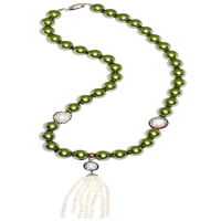 Keishi Pearl Encircle Russian Zirconia Shell Pearl Connect Tassel Necklace