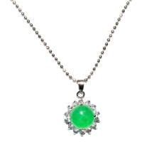 Green Quartz Pendant With Chain - Encircle Round