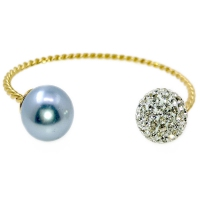 Mystic Twist Russian Zirconia & Shell Pearl Bangle - Blue
