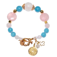 Rose Quartz & Chalcedony Mix T-Hook Bracelet