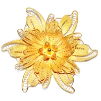 Flower 3 Layer 925 Silver Yellow Gold Plating Brooch