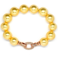 Shell Pearl With Ovate Enhancer Bracelet - Yellow