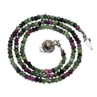 Ruby-Zoisite Beaded 1 Strand Necklace