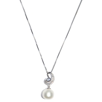 Fresh Water Pearl Cubic Zirconia Wave 925 Silver Pendant With Chain