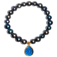 Fresh Water Pearl Dangling Blue Zircon Bracelet