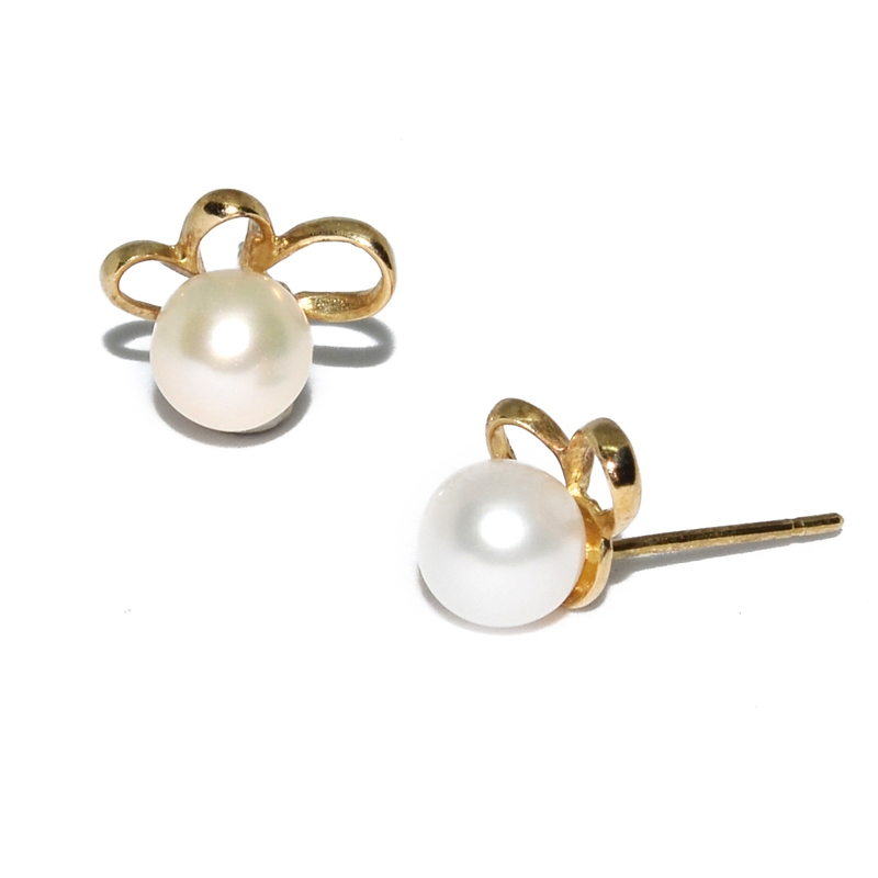 Fresh Water Pearl Fan Circle 9K Earring