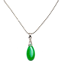 Green Quartz Pendant With Chain - Drop Hooked Silver