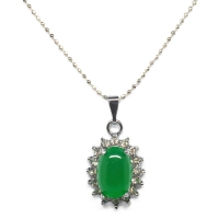 Green Quartz Pendant With Chain - Encircle Oval Silver