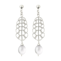 Fresh Water Pearl Leaf English Lace 925 Silver Earring