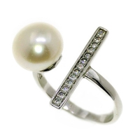 Fresh Water Bar Cubic Zirconia 925 Silver Ring