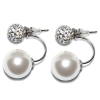 Russian Zirconia & Shell Pearl Droop 925 Silver Earring-White