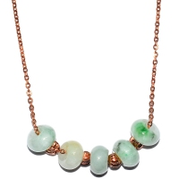Grade A Jade Rondelle In Stainless Steel Chain - Rose Gold