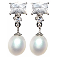 Fresh Water Pearl Rectangle Cubic Zirconia 925 Silver Earring