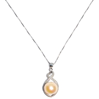 Kazumi Pearl  Drop Cubic Zirconia 925 Silver Pendant With Chain
