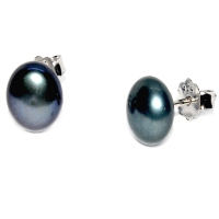 Fresh Water Pearl Button 8-9MM Stud 925 Silver Earring - Black