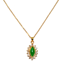 Green Quartz Pendant With Chain - Ellipse Cubic Gold