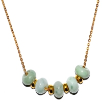 Grade A Jade Rondelle In Stainless Steel Chain - Gold