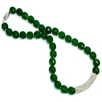Green Agate Crystal Bar Necklace