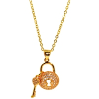 Key Lock Cubic Zirconia Pendant With Chain
