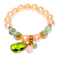 Fresh Water Pearl Mix Prehnite Green Zircon Elastic Bracelet