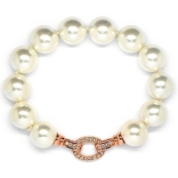 Shell Pearl With Ovate Enhancer Bracelet - White
