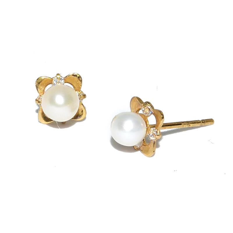 Fresh Water Pearl 4 Petal Flower Cubic Zirconia 9K Earring