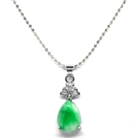 Green Quartz Pendant With Chain - Heart Teardrop