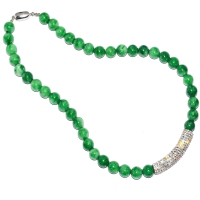 Green Quartz Crystal Bar Necklace