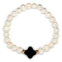 Fresh Water Pearl With Black Agate Clover Bracelet (Assorted Charms/Parts)
