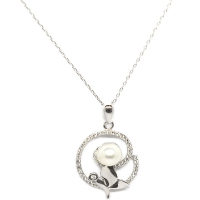 Fresh Water Pearl Cubic Zirconia Caterpillar 925 Silver Silver Pendant With Chain