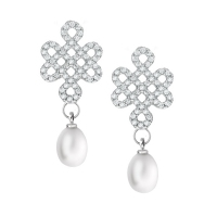 Fresh Water Pearl Mystical Knot With Cubic Zirconia 925 Silver Earring