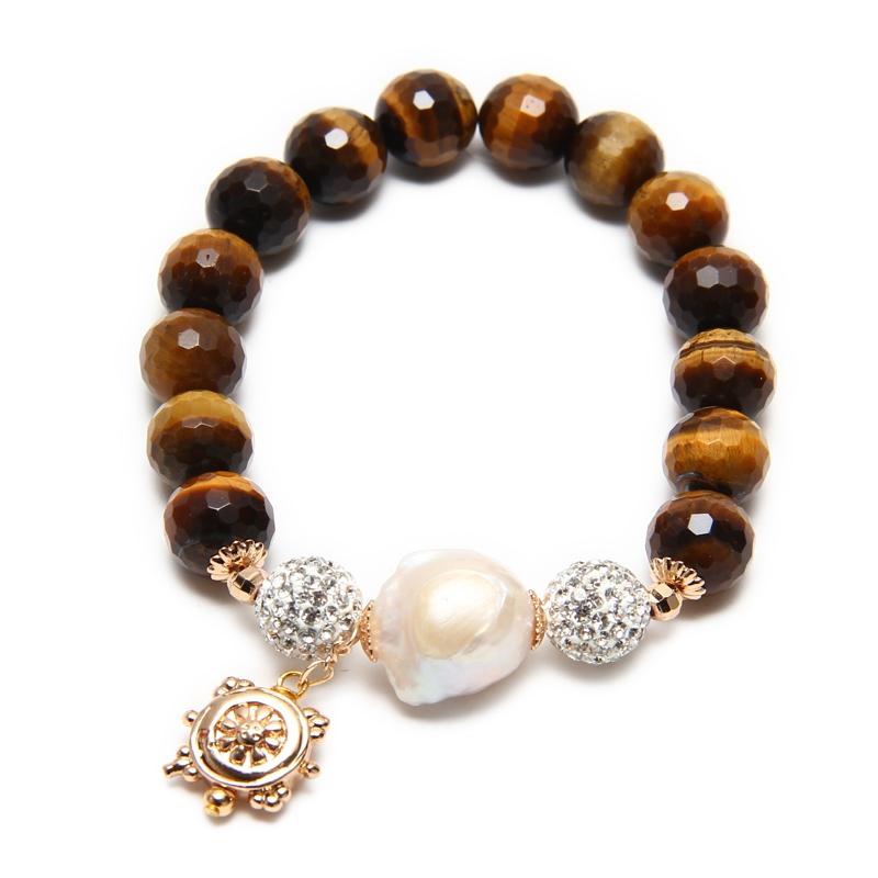 Baroque Stone Bracelet - Tiger Eye